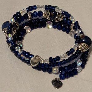 Jewelry - Handmade Cobalt Blue Memory Wire 4 Loop Bracelet